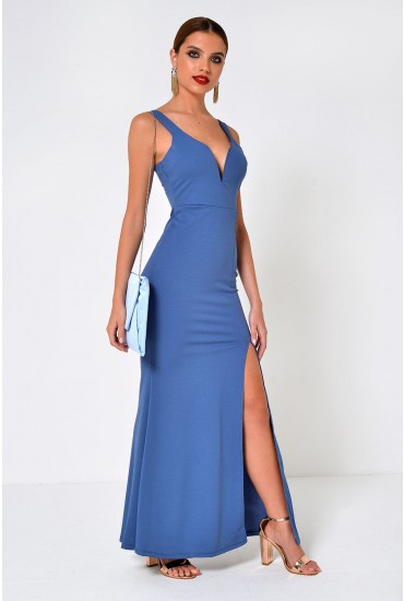Freya Strappy Maxi Dress with Front Split in Blue