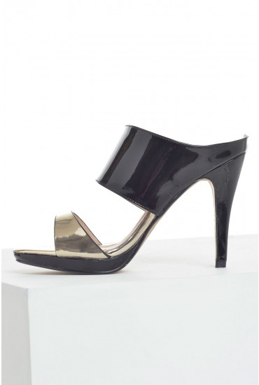 Polly Patent Open Back Sandals in Black