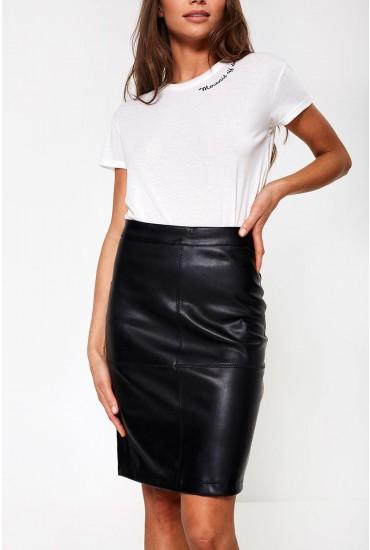 Mia PU Pencil Skirt in Black