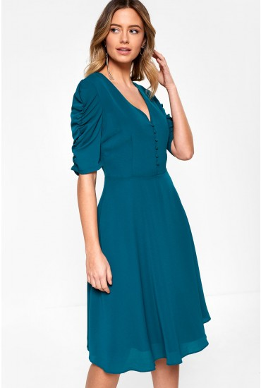 Victoria Midi Dress with Ruched Sleeve Detail in Green