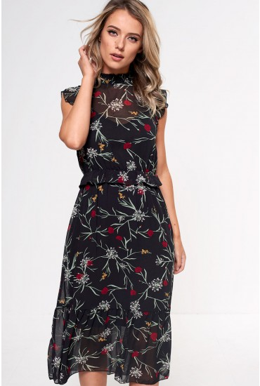 Becca Midi Dress in Black Floral Print