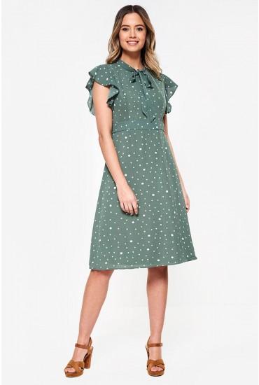 Florrie Midi Dress in Green Dot Print