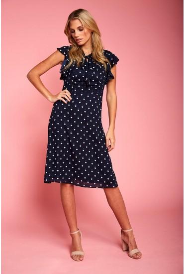 Florrie Midi Dress in Navy Heart Print