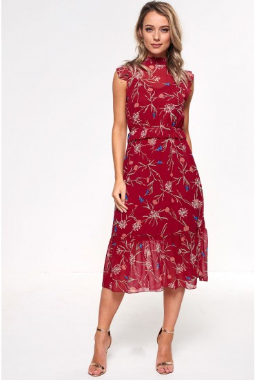 Becca Midi Dress in Red Floral Print