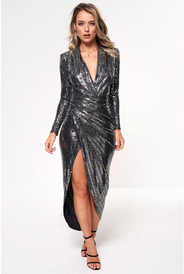 Kim Deep V Midi Dress in Silver Sequin