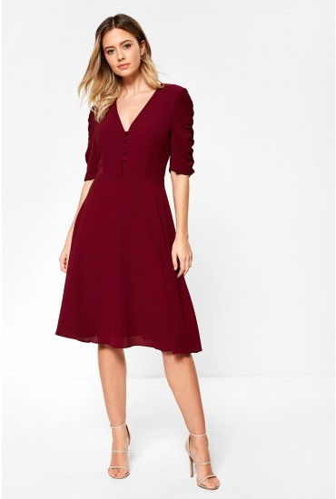 Victoria Midi Dress with Ruched Sleeve Detail in Burgundy