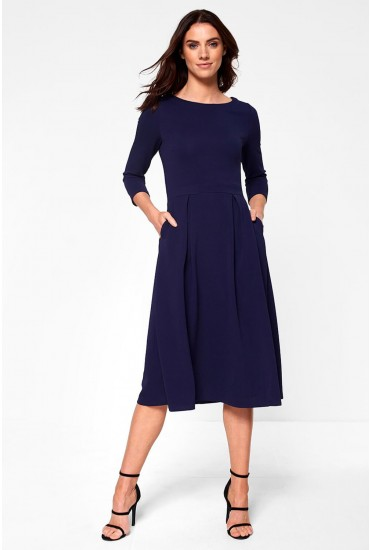 Sarah Midi Occasion Dress in Navy