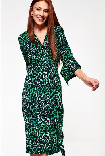 Angelique Midi Wrap Dress in Green Animal Print