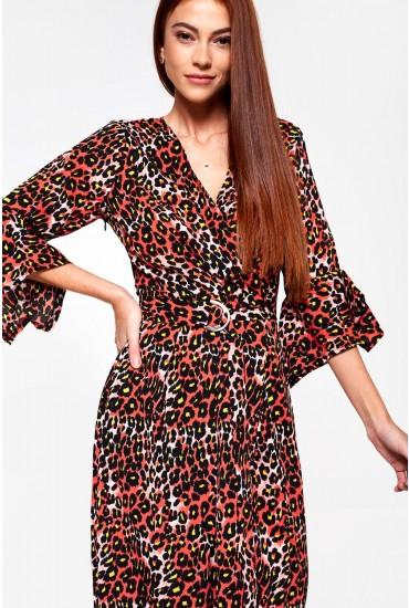 Angelique Midi Wrap Dress in Red Animal Print
