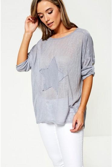 Mila Star Print Top in Grey