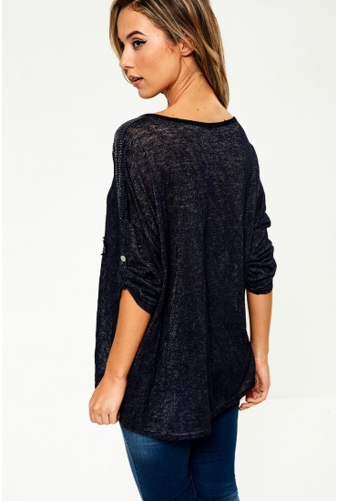 Mila Star Print Top in Navy