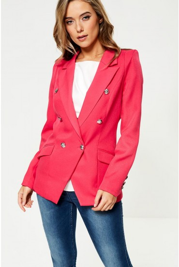 Tess Military Blazer in Cerise