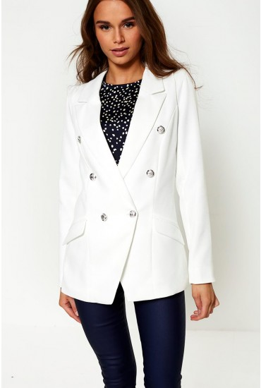 Tess Military Blazer in Off White