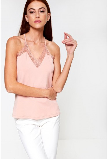 Milla S/L Lace Top in Rose