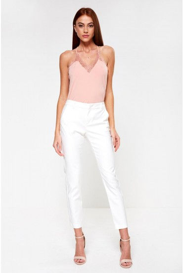 Leah Regular Classic Trousers in White