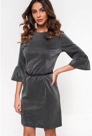 Mimie Lurex Belted Dress in Silver