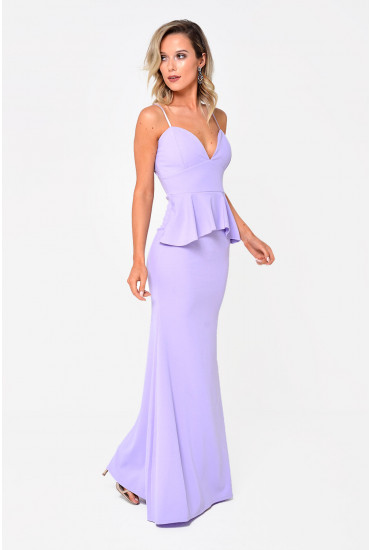 Gladys Peplum Maxi Dress in Lilac