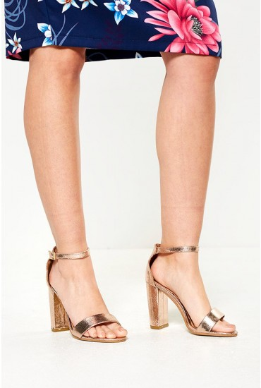 Molly Block Heel Sandals in Rose Gold