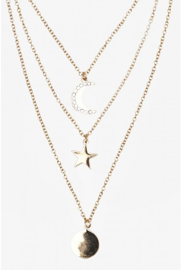 Sono Multi Row Necklace with Star and Moon Detail in Gold