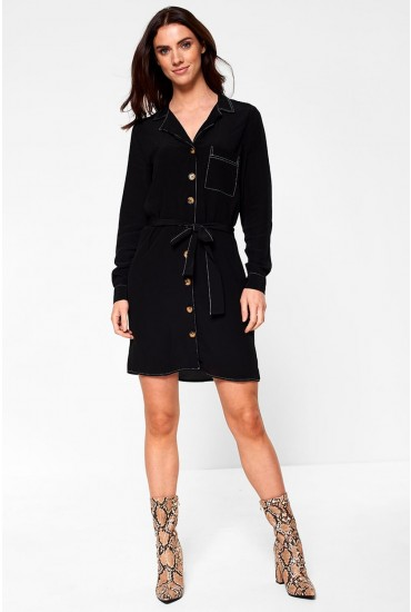 Nadine Shirt Dress with Button Detail in Black