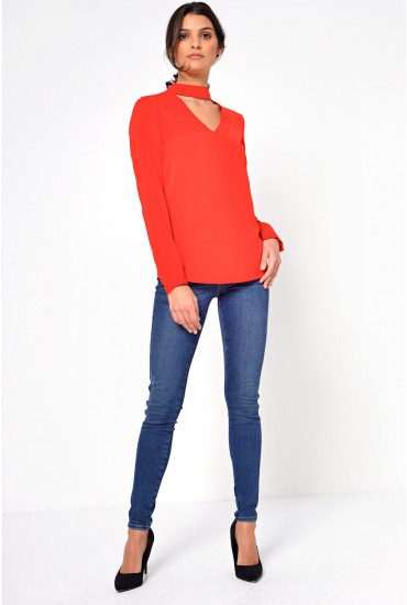 Sara Choker Neck Top in Red