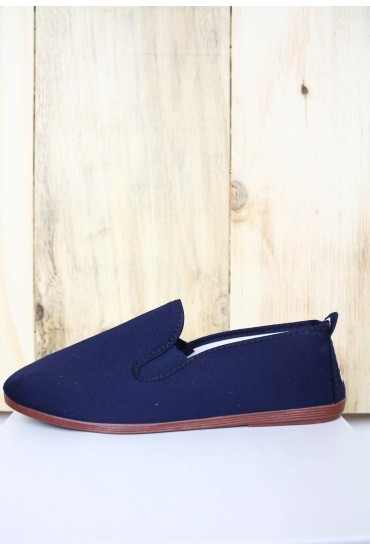 Flossy Canvas Pump in Navy