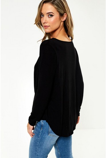 Nexa Long Sleeve Wrap Top in Black