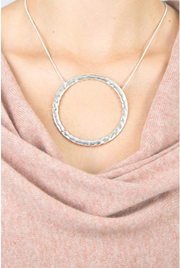 Lou Large Ring Necklace in Silver