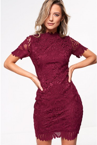 Noah Lace Pencil Dress in Plum
