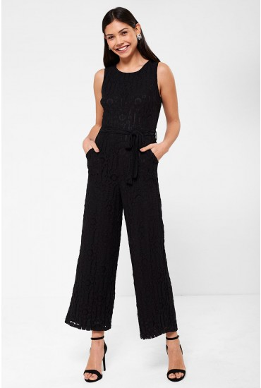 Donna Occasion Crochet Jumpsuit in Black