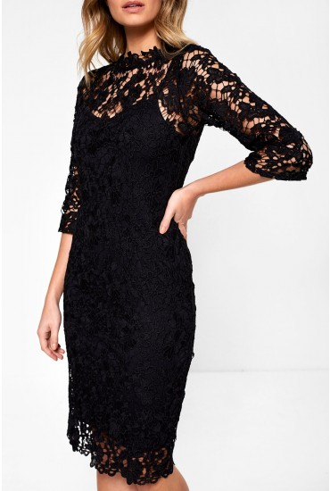 Gail Occasion Crochet Midi Dress in Black