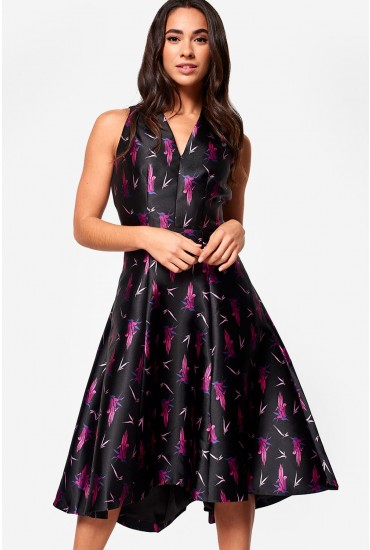 Michelle Occasion Dress in Black Floral Print