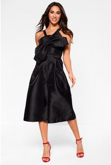 Lisa Occasion Jumpsuit with Bow Detail in Black