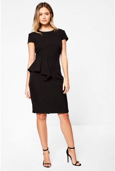 Saoirse Occasion Midi Dress With Peplum Detail in Black