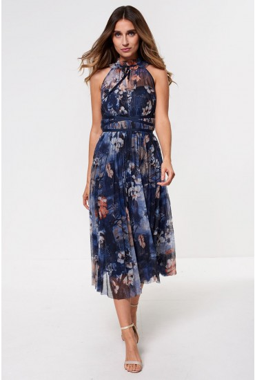 Hannah Occasion Midi Dress in Navy Floral Print
