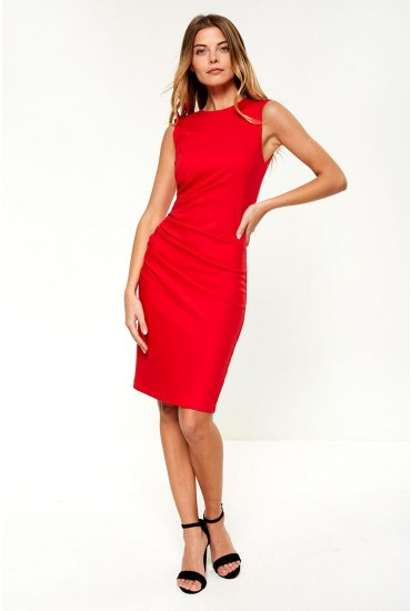 Cane Occasion Midi Dress in Red