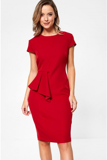 Saoirse Occasion Midi Dress With Peplum Detail in Red