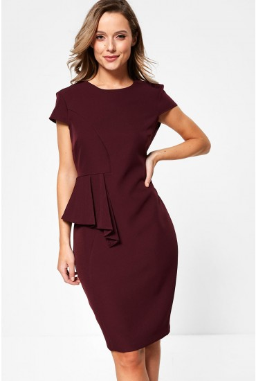 Saoirse Occasion Midi Dress With Peplum Detail in Plum