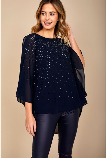 Zack Occasion Top with Embellished Detail in Navy