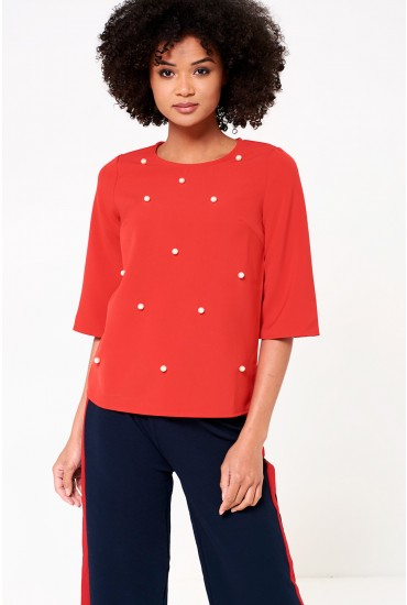 Sarah Occasion Top with Pearl Detail in Red
