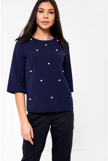 Sarah Occasion Top with Pearl Detail in Navy