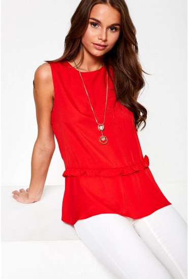 Odelia Sleeveless Top in Red