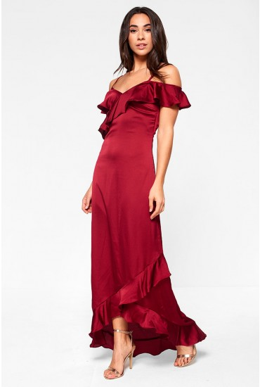 Fielle Off Shoulder Frill Maxi Dress in Wine