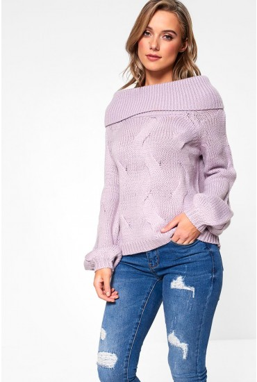Cabla Off Shoulder Knit Jumper in Pale Lilac
