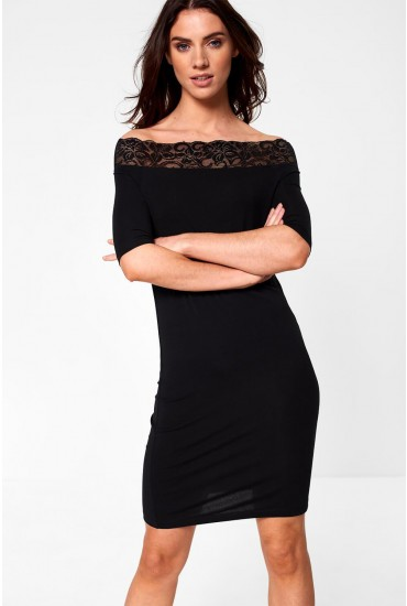 Lacy Off Shoulder Short Dress with Lace Insert in Black