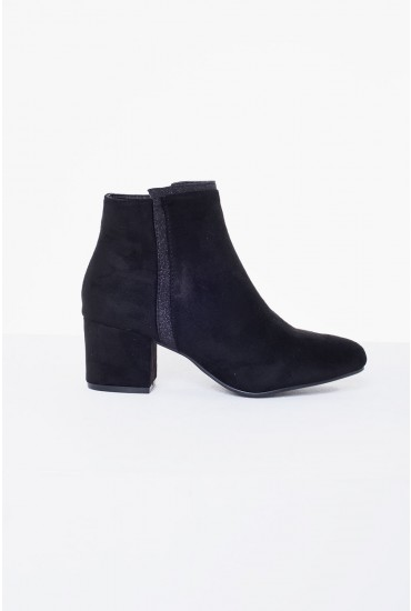 Mason Heeled Ankle Boot in Black Suede