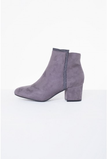 Mason Heeled Ankle Boot in Grey Suede