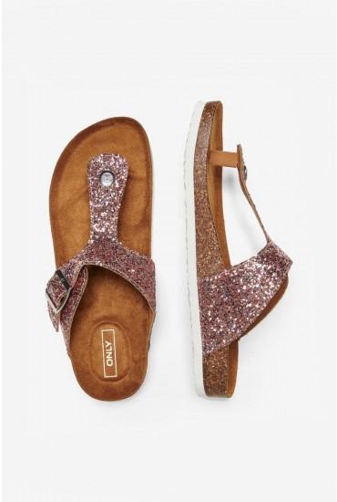 Mathilda Toe Split Sandal in Light Pink Glitter