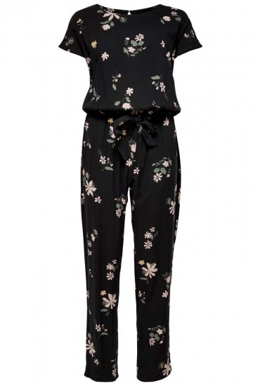 Star Floral Print Jumpsuit in Black