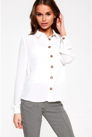 Cilvia Long Sleeve Shirt in White